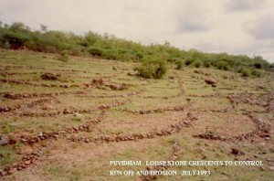 Soil and water conservation crescents using stones